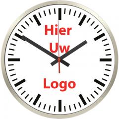Logo op klok 30cm RVS rand strepen