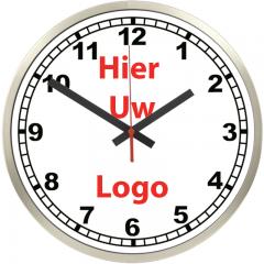Logo op klok 40cm RVS rand cijfers