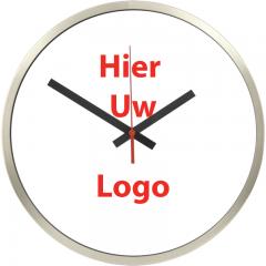Logo op klok 30cm RVS rand