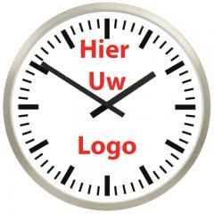 Logo op klok 50cm RVS rand strepen