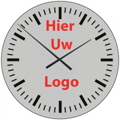 Logo op klok 60cm Aluminium strepen