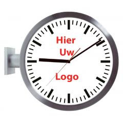 Logo op dubbelzijdige klok strepen