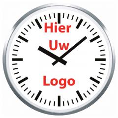 Logo op klok 60cm RVS rand strepen